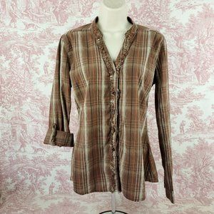 Maurices Button up Ruffle Front Shirt L Roll Tab